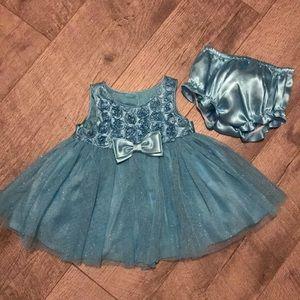 Other - Newborn baby girl blue silky dress